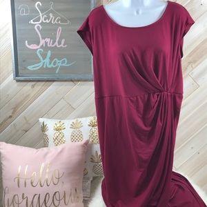 Torrid burgundy cap sleeve wrap dress w/tulip hem